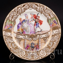 Декоративная тарелка из фарфора Домашний концерт, Wilhelm Koch, Германия, 1928 - 1949 гг.