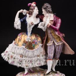 Фарфоровая статуэтка Танцующая пара, кружевная, Volkstedt, Германия, нач. 20 в.