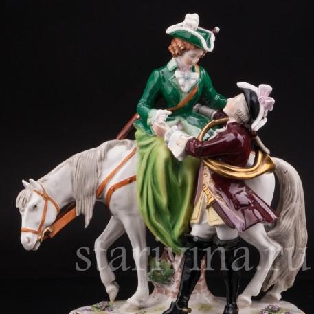Фарфоровая статуэтка Пара на охоте, Scheibe-Alsbach, Германия, вт. пол. 20 в.